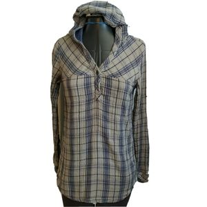 Ascend Plaid Shirt top Size XS Hooded Henley Blue